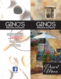 GINOS outside dessert menu