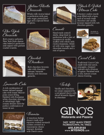 GINOS inside dessert menu